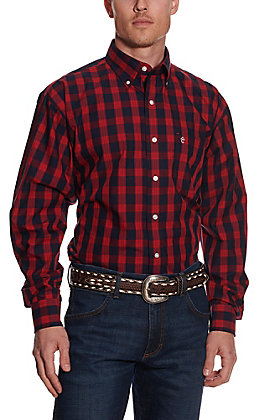Rafter C Easy Wear 45 Men's Red and Navy Plaid Long Sleeve Western Shirt