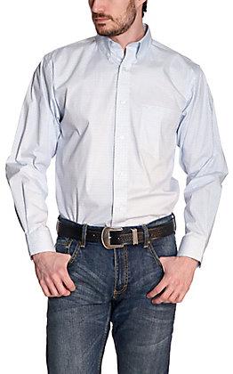 Rafter C ProFlex45 Men's White and Blue Geo Print Long Sleeve Western Shirt