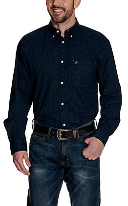 Rafter C ProFlex45 Men's Black with Royal Floral Print Long Sleeve Western Shirt