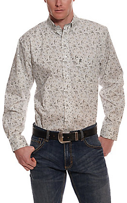 Rafter C ProFlex45 Men's White with Blue & Grey Paisley Print Long Sleeve Western Shirt