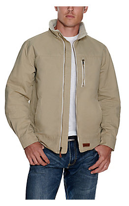 Rafter C Men's Sand Light Canvas with Sherpa Lined Collar Jacket