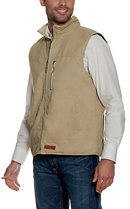 Rafter C Men's Sand Light Canvas with Sherpa Lined Collar Vest