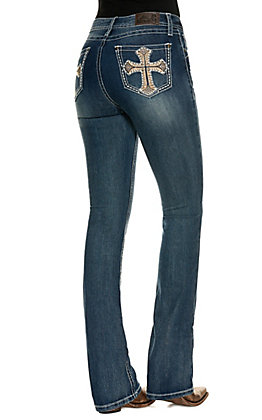 Rockin C Women's Medium Wash Easy Fit With Cross Embroidered Pockets Boot Cut Jeans