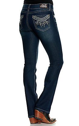 Rockin' C Women's Dark Wash Embroidered Sunburst Easy Fit Boot Cut Jeans