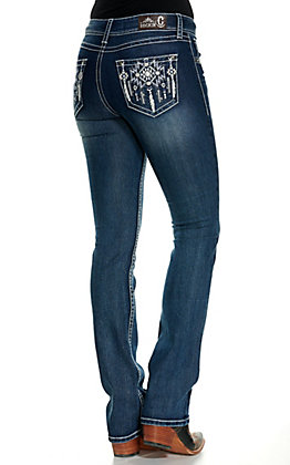 Rockin' C Women's Dark Wash Aztec Feather Embroidered Easy Fit Boot Cut Jeans