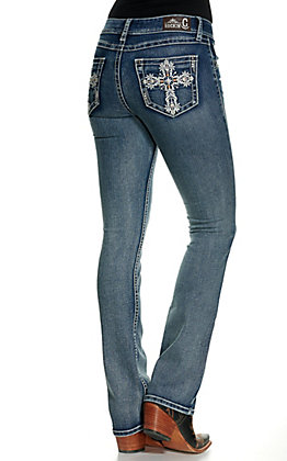 Rockin' C Women's Medium Wash Embroidered Cross Easy Fit Boot Cut Jeans