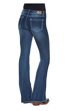 Rockin' C Women's Medium Wash Frayed Hem Trouser Leg Jean