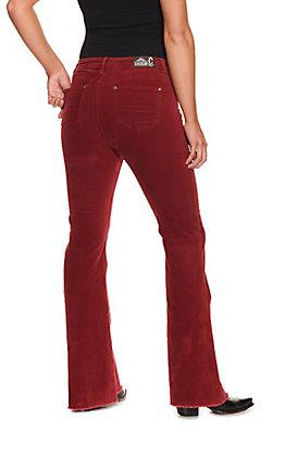Rockin' C Women's Burgundy Corduroy Frayed Hem Trouser Leg Jean
