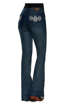 Rockin C Women's Medium Wash Low Rise Diamond Trouser Leg Jean