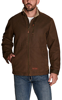 Rafter C Men's Brown Faux Oilskin with Sherpa Lined Collar Jacket