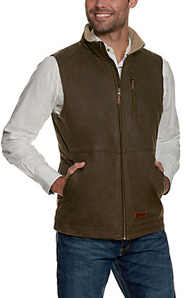 Rafter C Men's Brown Faux Oilskin with Sherpa Lined Collar Vest