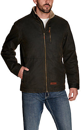 Rafter C Men's Dark Brown Faux Oilskin with Sherpa Lined Collar Jacket