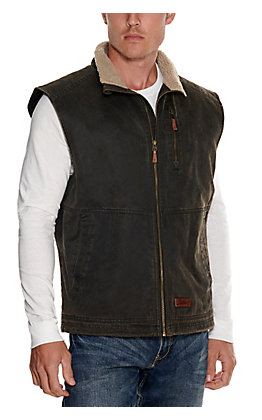 Rafter C Men's Dark Brown Faux Oilskin with Sherpa Lined Collar Vest