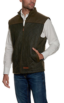 Rafter C Men's Brown and Dark Brown Faux Oilskin Quilted Vest