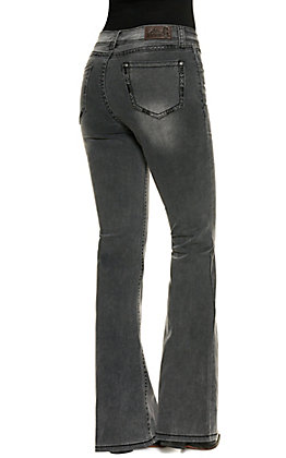 Rockin C Women's Washed Black High Rise Flare Jeans