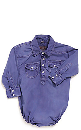 Rafter C Cowboy Collection Infant Navy Wash Long Sleeve Western Snap Onesie