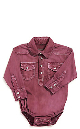 Rafter C Cowboy Collection Infant Maroon Wash Long Sleeve Western Snap Onesie