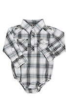Rafter C Infant Black and White Plaid Long Sleeve Western Snap Onesie