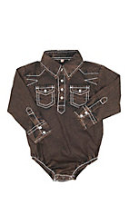 Rafter C Infant Brown Acid Wash Long Sleeve Western Snap Onesie