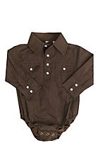 Rafter C Infant Brown Paisley Print Long Sleeve Western Snap Onsie