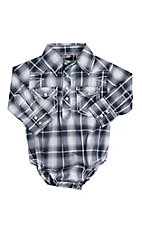 Rafter C Infant Blue and White Plaid Long Sleeve Western Snap Onsie