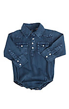 Rafter C Cowboy Collection Infant Blue L/S Western Snap Onsie
