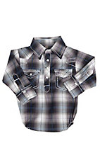Rafter C Infant Navy and White Plaid Long Sleeve Western Snap Onsie
