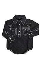 Rafter C Infant Black and Grey Paisley Print Long Sleeve Western Snap Onsie