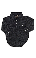 Rafter C Infant Black and Navy Paisley Print Long Sleeve Western Snap Onsie