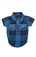 Rafter C Infant Blue Plaid Short Sleeve Western Snap Onsie