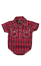 Rafter C Infant Red Plaid Short Sleeve Western Snap Onsie