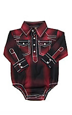 Rafter C Infant Red Plaid Long Sleeve Western Snap Onsie