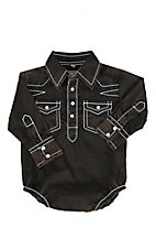 Rafter C Infant Brown with Black Acid Wash Long Sleeve Western Snap Onesie