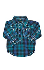 Rafter C Infant Blue Plaid Print Long Sleeve Western Snap Onsie
