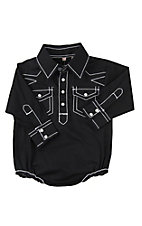 Rafter C Cowboy Collection Infant Solid Black w/ White Stitching Western Snap Shirt Onesie