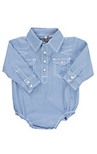 Rafter C Cowboy Collection Infant Blue Gingham L/S Western Snap Shirt