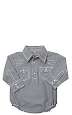 Rafter C Cowboy Collection Black Micro Gingham w/ White Stitching L/S Western Snap Onesie