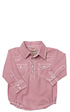 Rafter C Cowboy Collection Red Micro Gingham w/ White Stitching L/S Western Snap Onesie