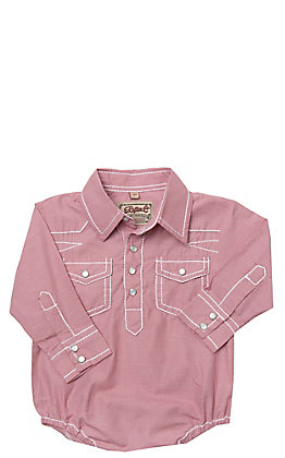 Rafter C Cowboy Collection Red Micro Gingham with White Stitching Long Sleeve Western Snap Onesie