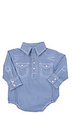 Rafter C Cowboy Collection Blue Micro Gingham w/ White Stitching L/S Western Snap Onesie