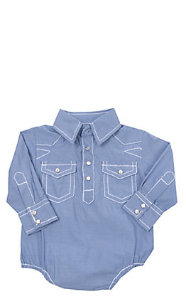 Rafter C Cowboy Collection Blue Micro Gingham with White Stitching Long Sleeve Western Snap Onesie
