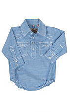 Rafter C Cowboy Collection Solid Blue w/ White Stitching L/S Western Snap Onesie