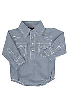 Rafter C Cowboy Collection  Navy Checkered w/ White Stitching L/S Western Snap Onesie