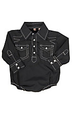 Rafter C Cowboy Collection Black Geo Print w/ White Stitching L/S Western Snap Onesie
