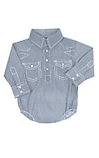 Rafter C Cowboy Collection Infants Teal Geo Mini L/S Western Snap Onesie