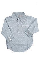 Rafter C Cowboy Collection Infant Navy Geo Mini L/S Western Snap Shirt
