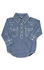 Rafter C Infants Navy Blue Geo Diamond Print Western Snap Onesie