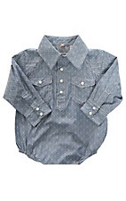 Rafter C Infant Boys Grey Medallion Print Pearl Snap Button Down