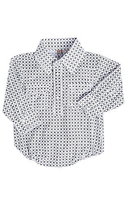 Rafter C Boys Infant White with Grey Geo Print Long Sleeve Onesie
