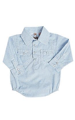 Rafter C Boys Infant Blue Geo Print Long Sleeve Onesie